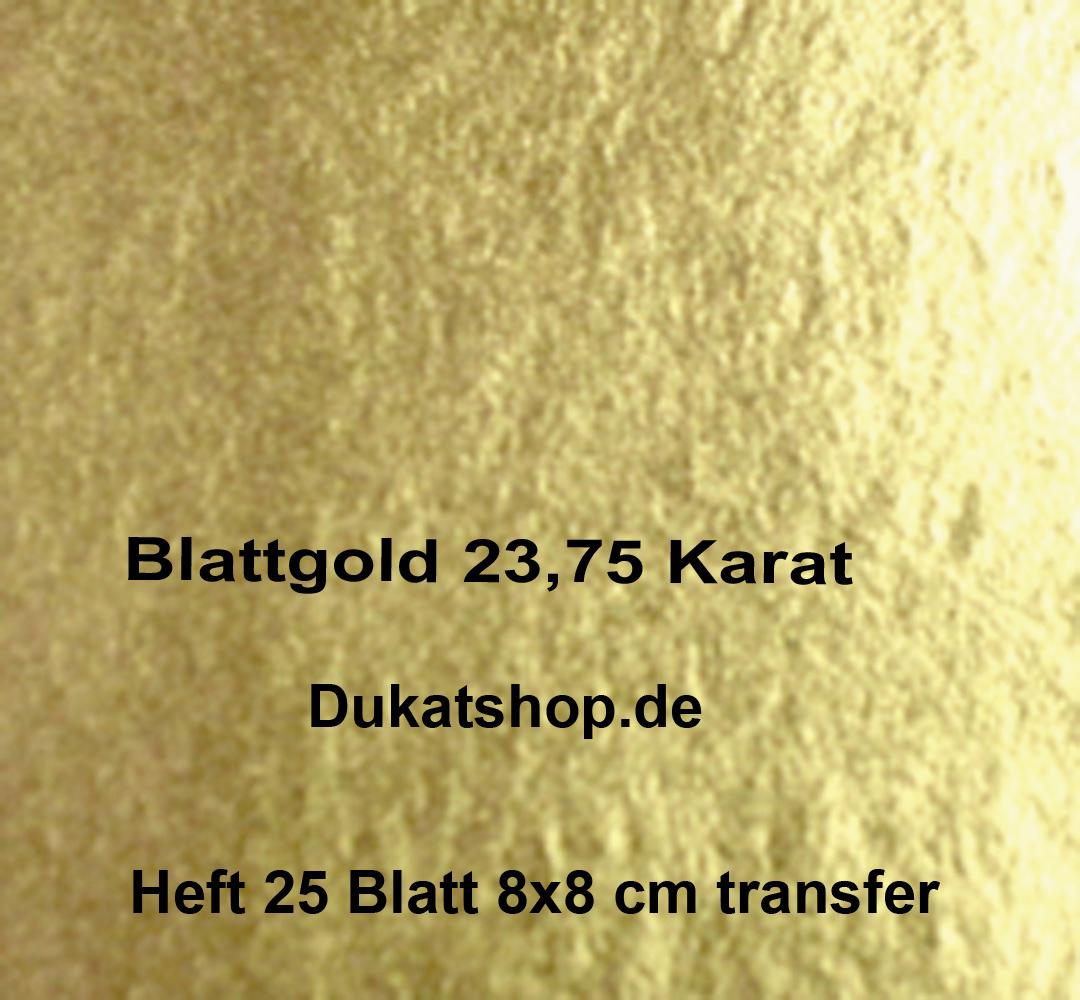 23,75 Karat Blattgold, Doppelgold, Transfer, 14 Gr., 25 Blatt 8x8cm