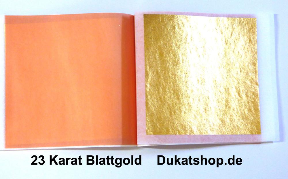 23 Karat 8x8 cm, 14 Gr., Dukat-Doppelgold, Zwischenpapier