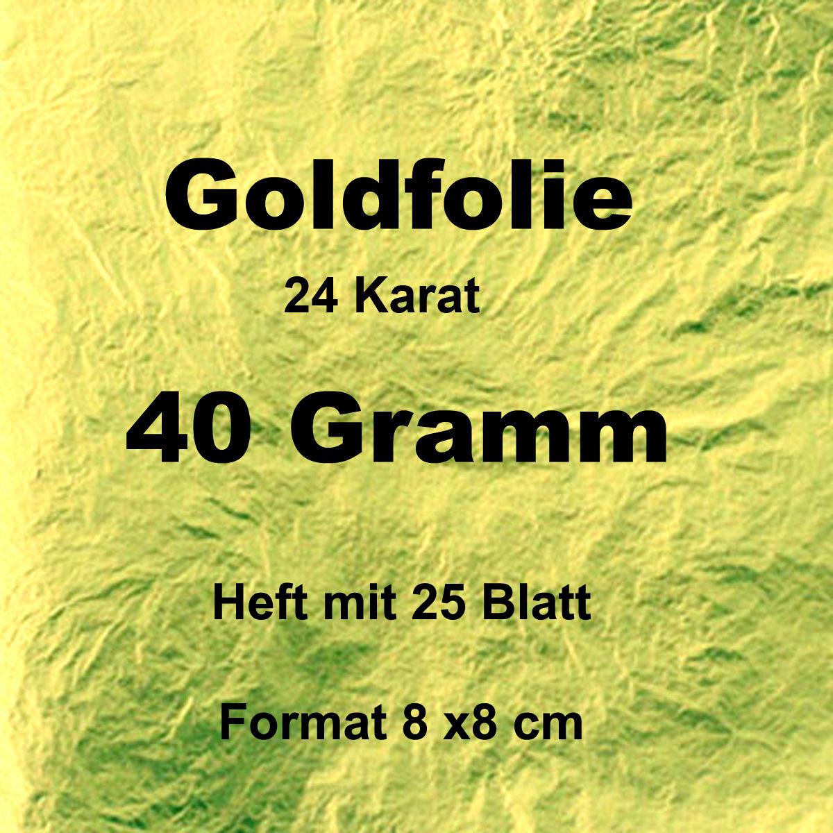Goldfolie 40 Gr. , Heft mit 25 Blatt, 8x8 cm
