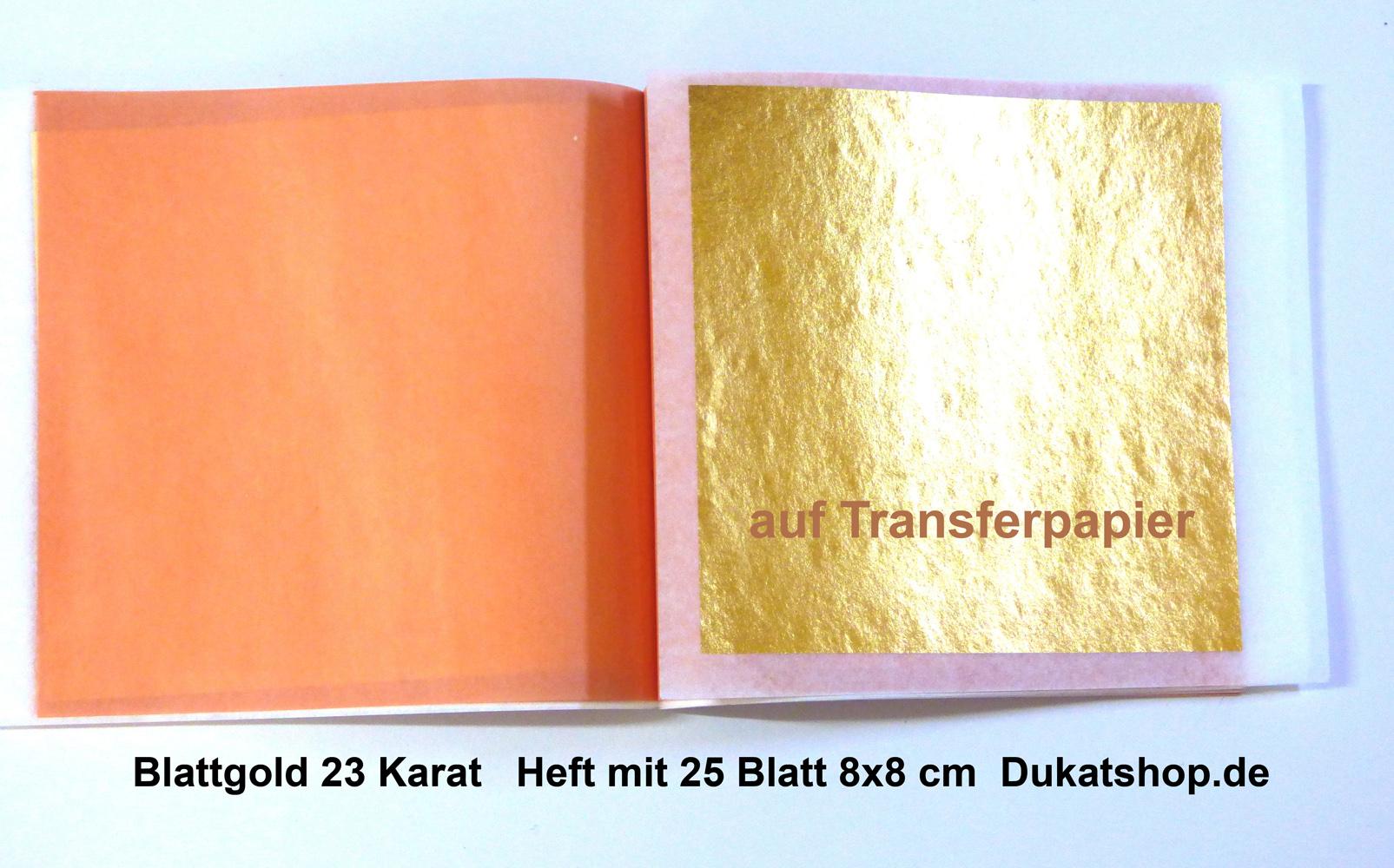 1 Heft, 10 Blatt, 23 Karat 14 Gr., 8x8 cm, Transferpapier