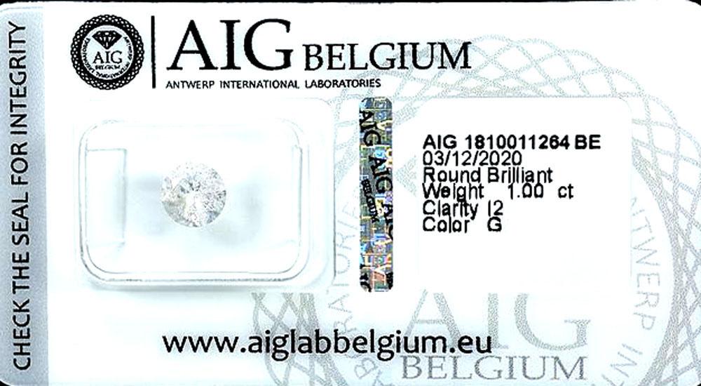 Brilliant 1,0 Karat, rund, Expertise AIG, Farbe G - I2